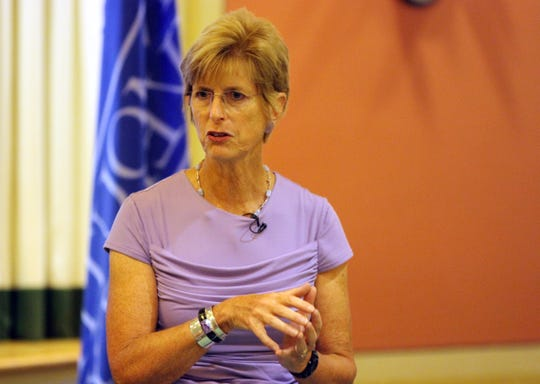 Former New Jersey Governor Christine Todd Whitman speaks to students and staff in Wilson Hall at Monmouth University in West Long Branch in 2013.
