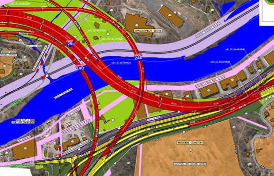 This portion of a state Department of Transportation map shows current plans for a new bridge to cross the French Broad River. Bridges are shown in red, new highway lanes on the ground in yellow.