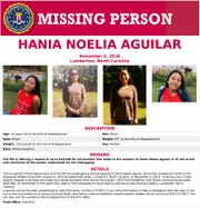 This image released by the FBI shows a missing person poster for Hania Aguilar. Aguilar was kidnapped Nov. 5, 2018, from a Robeson County, N.C., mobile home park after going outside to start a relative's SUV before school.