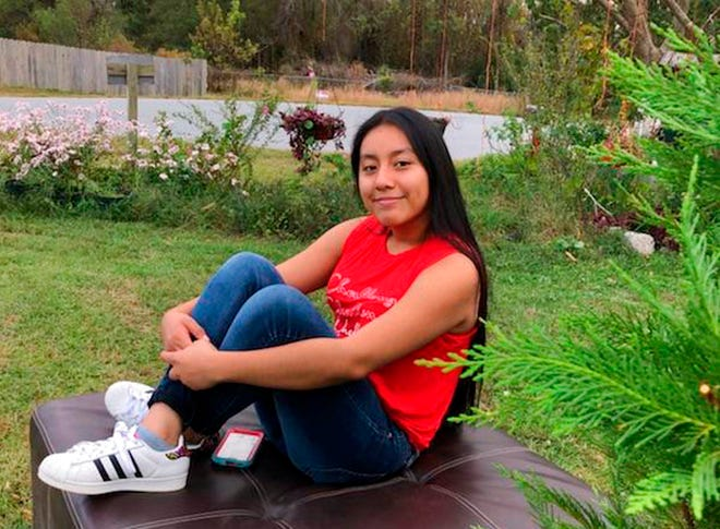 This Sunday, Nov. 4, 2018, photo provided by FBI shows Hania Noelia Aguilar, the day before she went missing in Lumberton, N.C. Authorities say they have found the SUV stolen during the kidnapping of the 13-year-old girl at a North Carolina mobile home park, and now hope to identify a person seen in a surveillance video. (FBI via AP)
