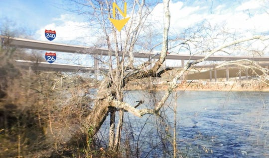 This simulation done for the state Department of Transportation is designed to show what a new bridge planned over the French Broad River will look like from a point off Emma Road just upstream from the bridge.