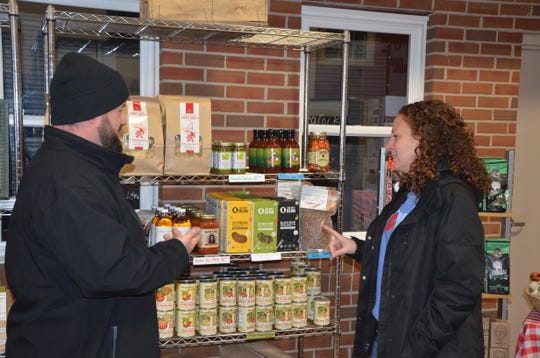 Sprout CEO Jeremy Andrews talks with Operations Manager Lydia Marucco at Sprout's 503 Military St. location in Springfield on  Tuesday, Nov. 27, 2018.