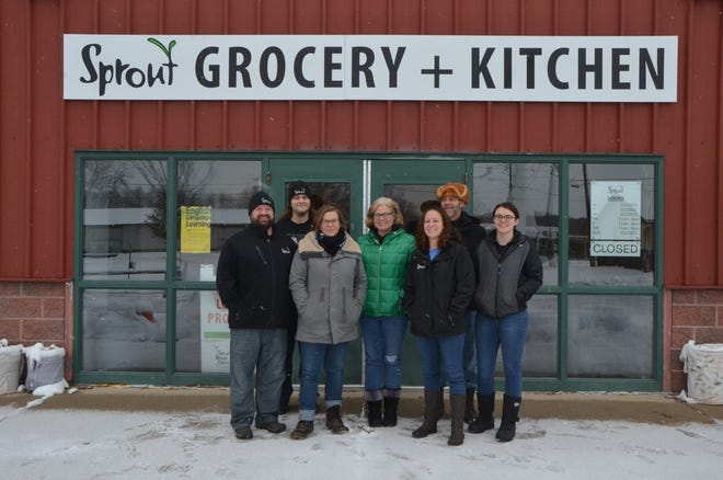 Sprout CEO Jeremy Andrews (left), Food Hub Team Member Ian Naas, Hub Manager Brennan Dougherty, Food Hub Team Member Ariel O'Donnell, Operations Manager Lydia Marucco and Food Hub Team Members Mark Richards and Sunny Richards.