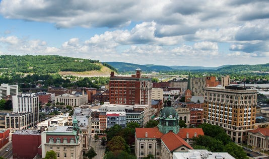 Downtown Binghamton and the Chenango River valley.