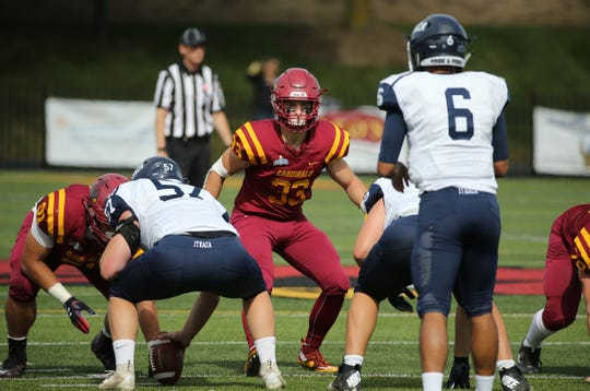 Susquehanna Valley graduate Justin Wheeler (33) led St. John Fisher in tackles.