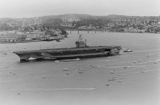 The USS Nimitz enters Sinclair Inlet for the first time in July 1987.