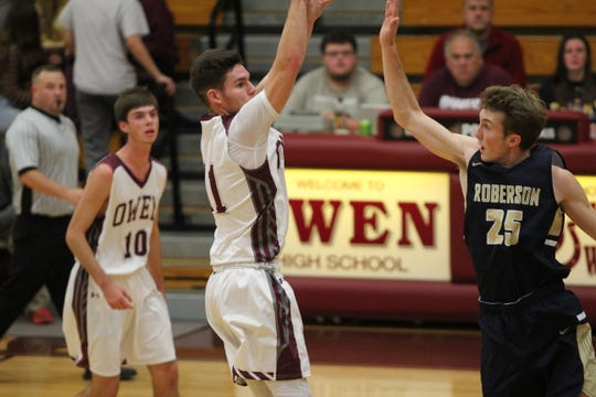 Owen senior Noah Moore dropped 38 points for the Warhorse in a 73-67 loss against Roberson in the Warhorses' 2018-19 home opener on Nov. 27.