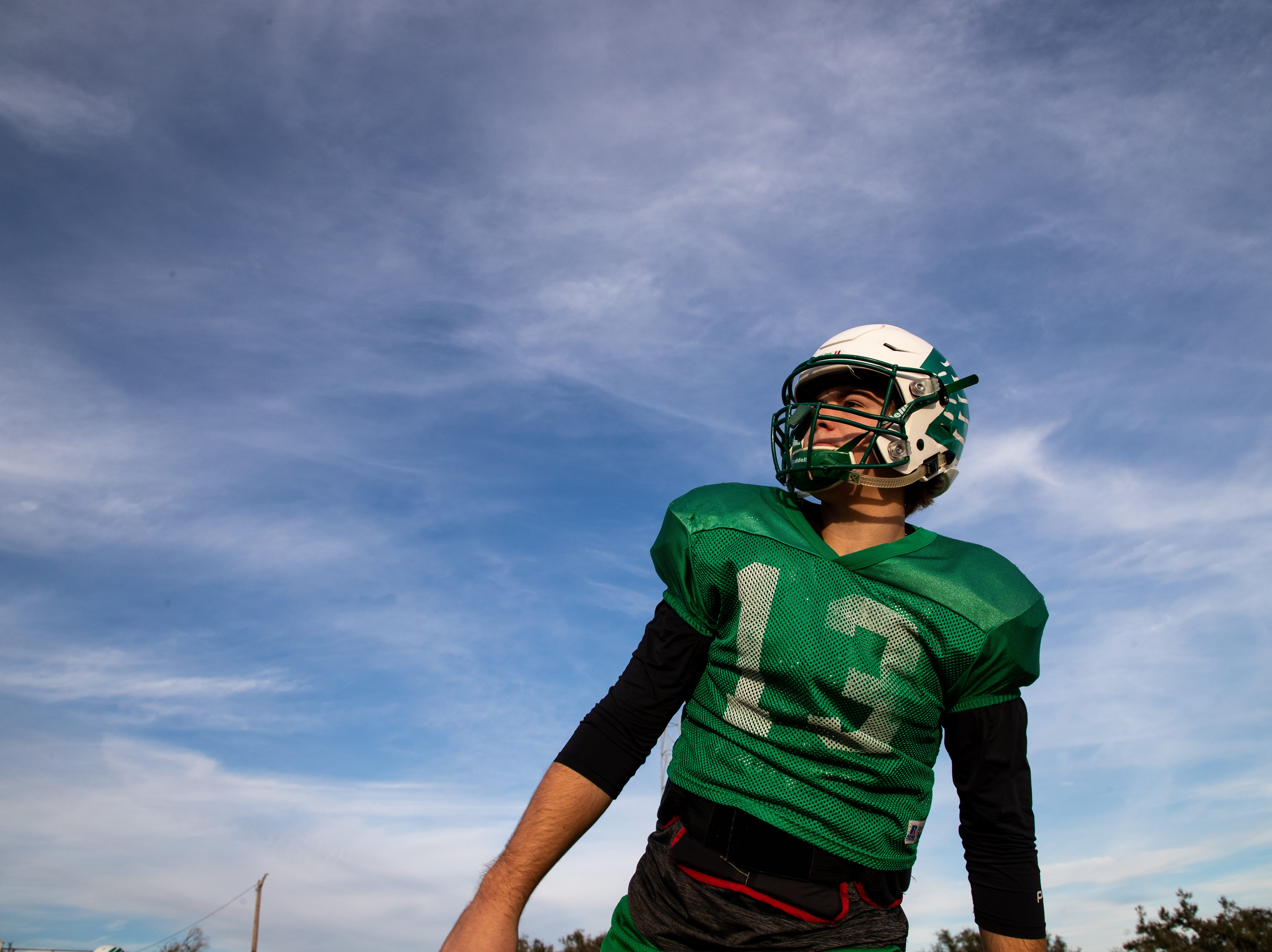 The Woodsboro quarterback Kalob Jochetz throws the ball during practice on Tuesday, Nov. 27, 2018.  Woodsboro holds a record of 12-0 this season, best record in school history.