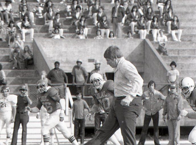 Former Dallas Cowboys player Bob Lilly symbolically kicked off the Menudo Bowl on Jan. 9, 1978 in Corpus Christi. The annual charity football game pitted the LULAC Broncos against the Corpus Christi Army Depot Cobras.