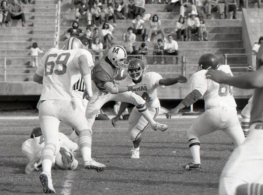 The action on the field at the Menudo Bowl on Jan. 9, 1978 at Buc Stadium in Corpus Christi.