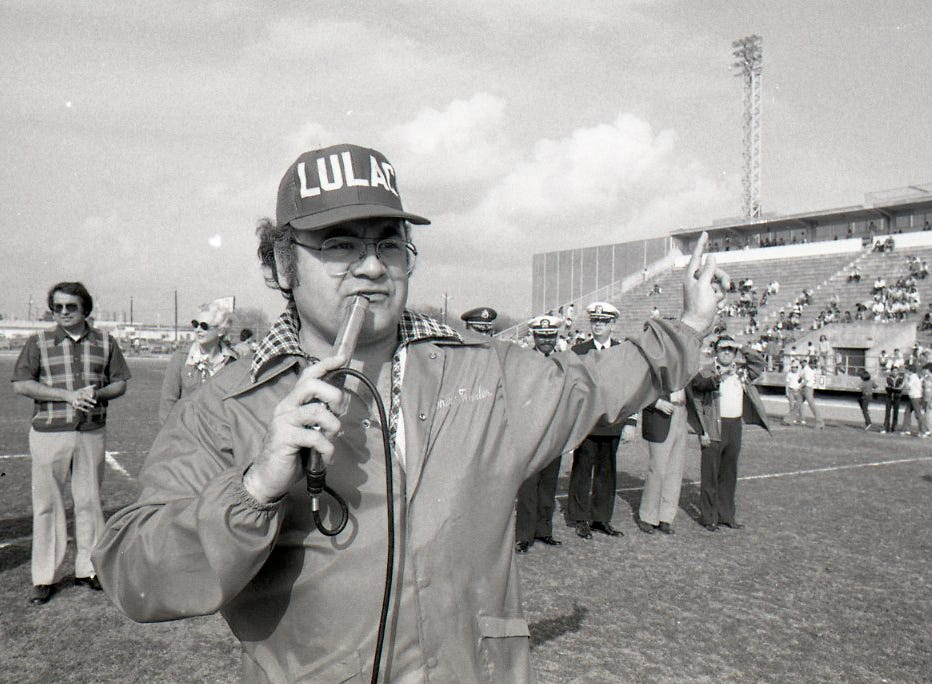 Emcee Tony Bonilla directs proceedings for the Menudo Bowl on Jan. 9, 1978. This was the first year Bonilla didn't play.
