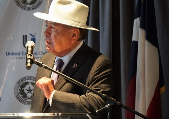 State Sen. Juan 'Chuy' Hinojosa speaks to the audience gathered for Nueces County Judge Loyd Neal's final State of the County speech on Nov. 28 at the Congressman Solomon P. Ortiz International Center.