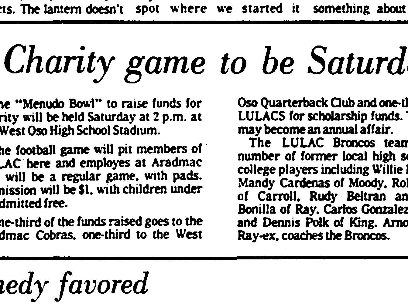 The first Menudo Bowl, previewed in this article from the Corpus Christi Caller-Times, was held in January 1975.