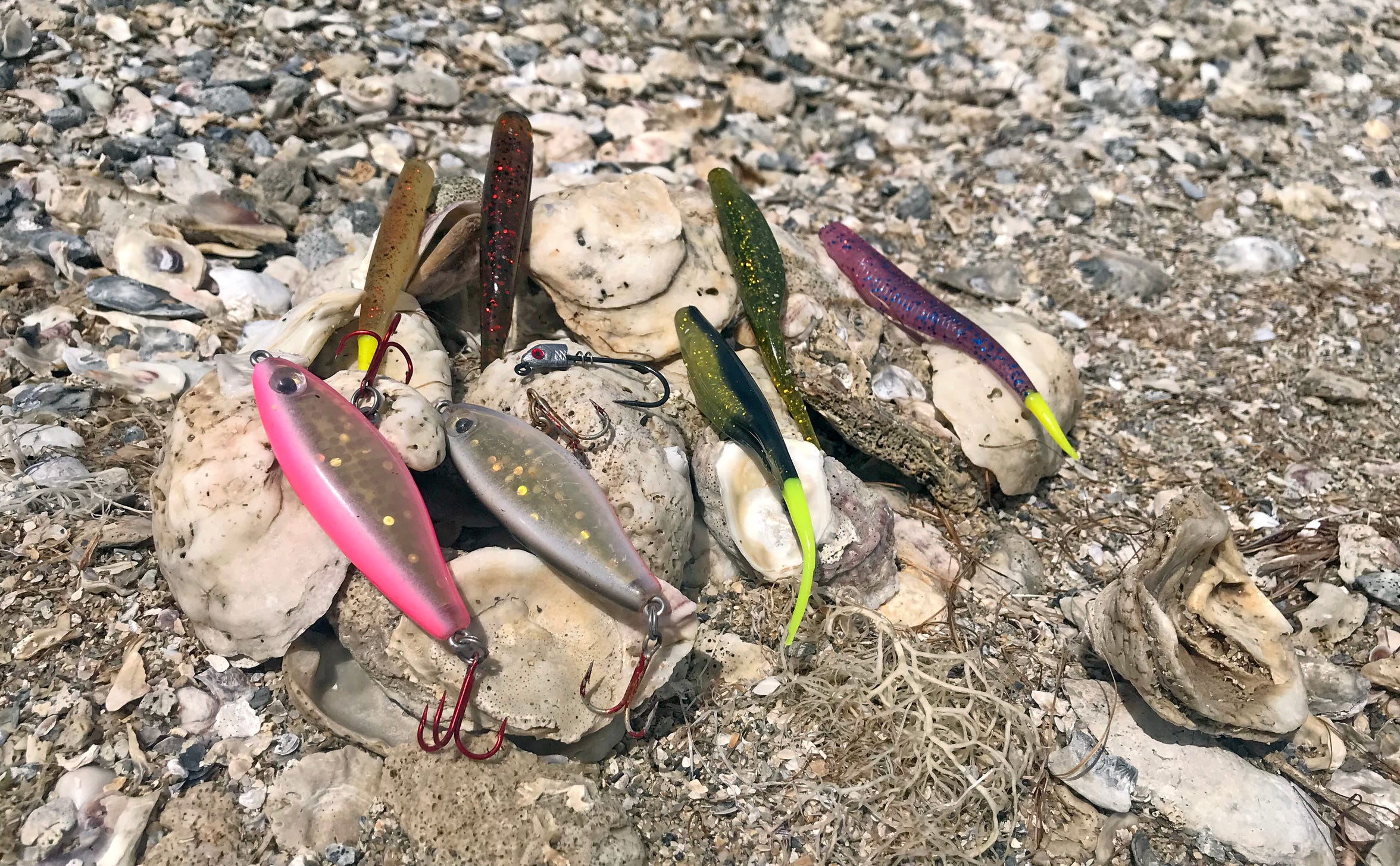 While most winter trout anglers use a variety of Corky-type lures, such as the Paul Brown Original series, Jay Watkins also recommends the Custom Corky, a Texas Double D Lure, some of the MirrOLure suspending and slow-sinkers, plus these soft plastic jerkbaits on lightweight jigheads.