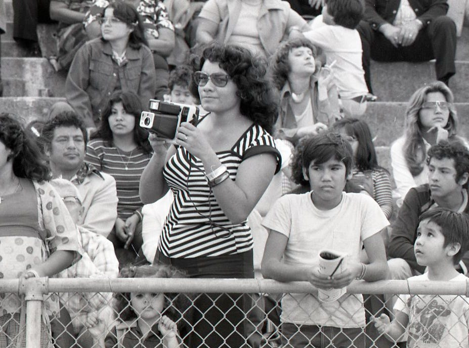 Fans caught the action from the stands at Buc Stadium at the Menudo Bowl in Corpus Christi on Jan. 9, 1978.