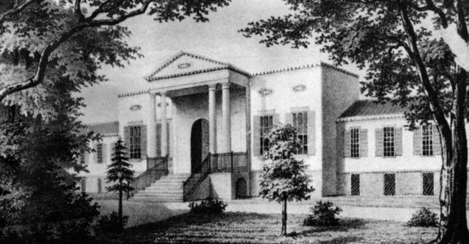 A lithograph print from 1857 shows the home of Nicholas Longworth, now the Taft Museum of Art.