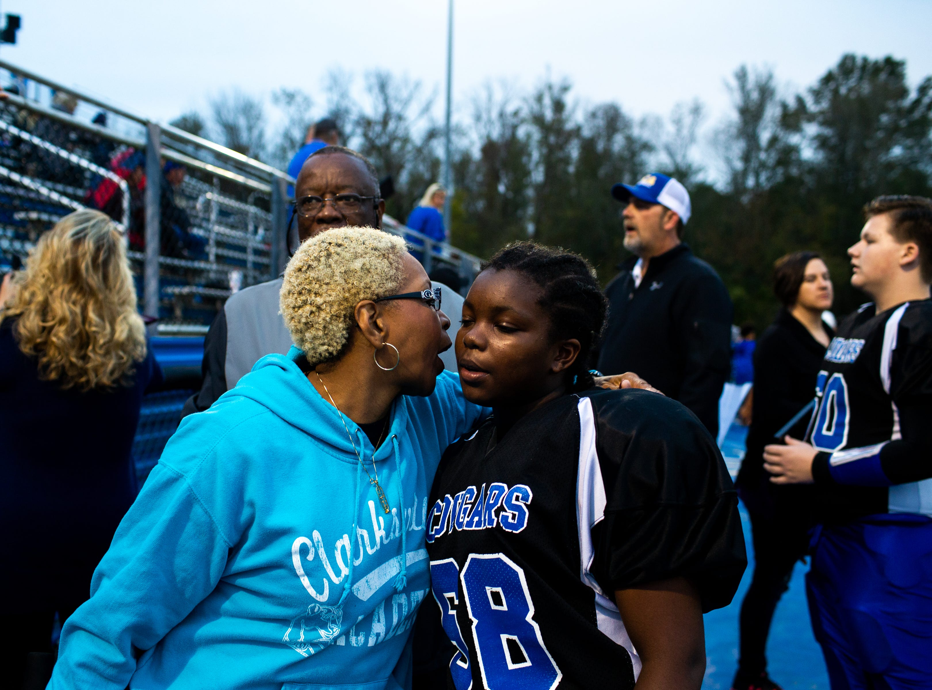 Sheila Bryant kisses her child, Madisen's cheek before their game at the Clarksville Academy Sports Complex Thursday, Oct. 25, 2018, in Clarksville, Tenn.