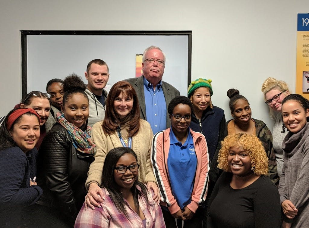 John E. McCormac, Mayor of Woodbridge Township, NJ (standing center, back row), joins some of the Berkeley College students who completed the Professional Development Series designed to build students' awareness and expertise in areas employers are looking for. Mayor McCormac presented the workshop on humility.