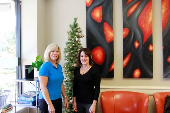(Left to right) Tamra Campanella, administrative director of the Hunterdon Health and Wellness Centers and Michelle Gill, owner of Social Salon, are hosting a toy drive for pediatric patients at Hunterdon Medical Center.