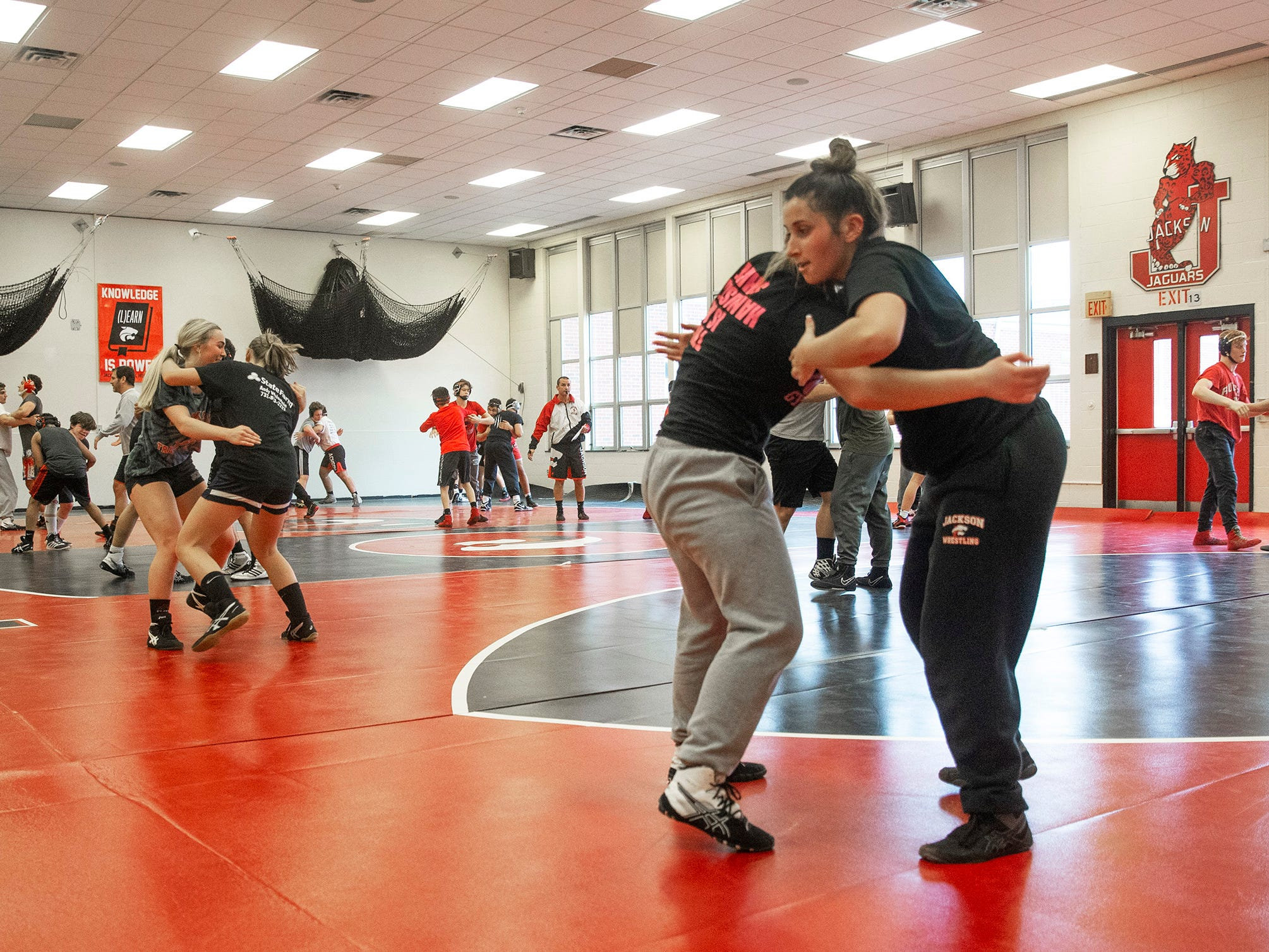 NJSIAA is offering wrestling for girls this year and they will participate in an all girls tournament at the end of the season. Jackson Memorial Wrestling is fielding a full girls team this year. Boy and girls practice together although mostly match up with partners of their own sex for most drills.