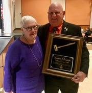 Linden Board of Education President Raymond J. Topoleski with his wife, Alice, on the night he was honored.