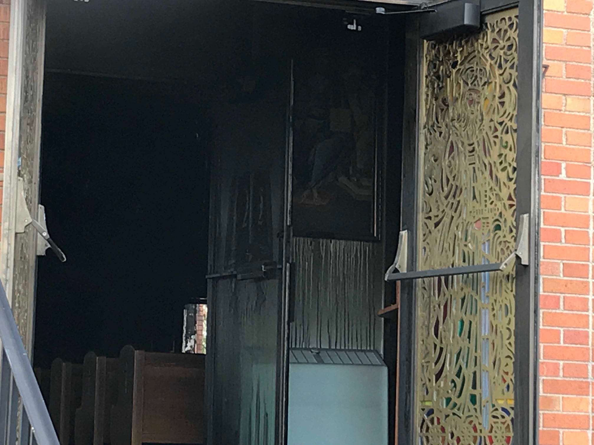 The charred dark interior of St. Mary's Ukrainian Catholic Church in Carteret following a two-alarm fire Tuesday night.