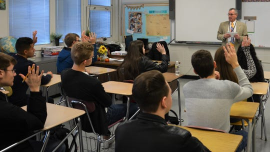 Freeholder Director Ronald G. Rios visited South River High School and the Middlesex County Vo-Tech School campus in Perth Amboy in a series of student discussions following the Thanksgiving holiday.