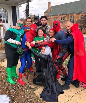 Trevor Kohler, an 11-year-old Jamesburg resident diagnosed with leukemia, during his visit with nine superheroes.