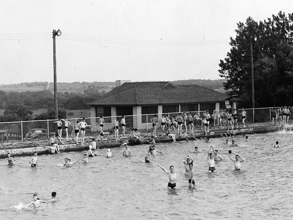 From 1939: Swimmers enjoy a hot June day in the Camp Dodge swimming pool, which was one of the world's largest outdoor filtered pools when it was built in 1922. It was 350-feet by 150-feet and took nearly 3 million gallons to fill.