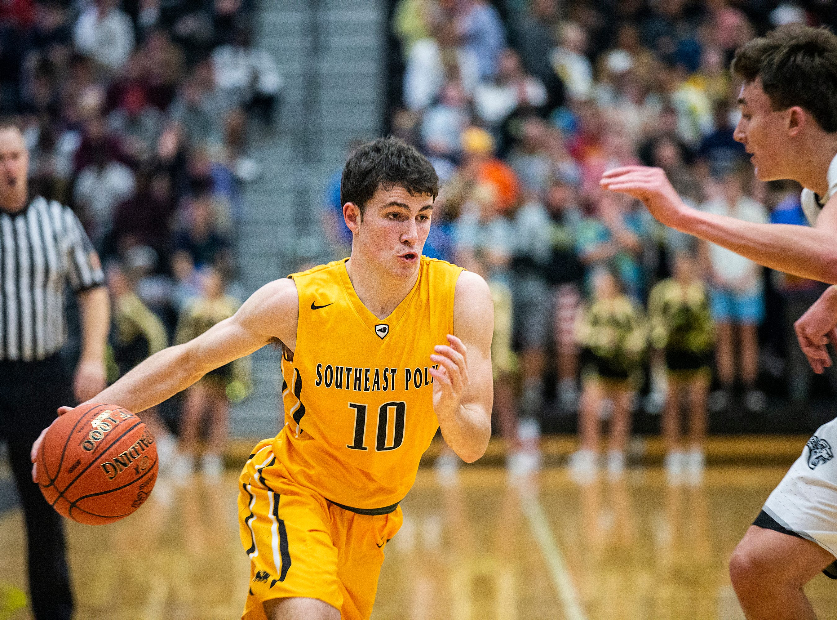 SEP's Daniel Hackbarth brings the ball down the court during the Southeast Polk vs. Ankeny Centennial boy's basketball game on Tuesday, Nov. 27, 2018, at Ankeny Centennial High School.