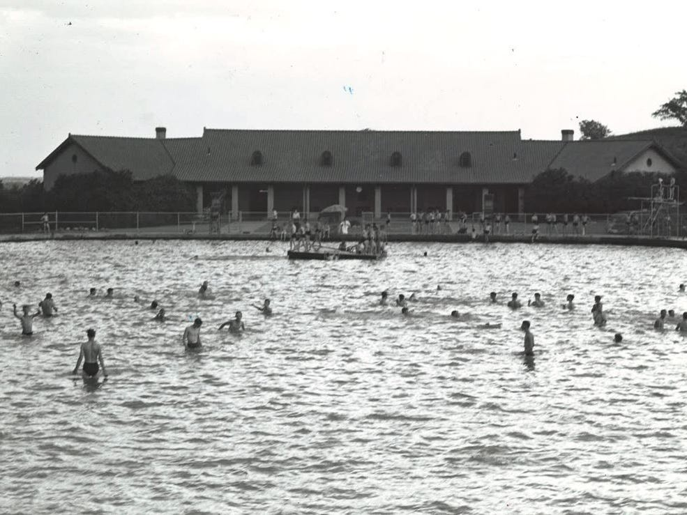 From 1939: Swimmers at the massive Camp Dodge pool.