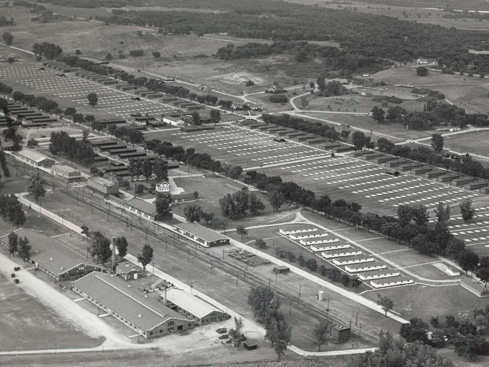 The massive Camp Dodge pool is seen at the top of this aerial photo of Camp Dodge in 1965.