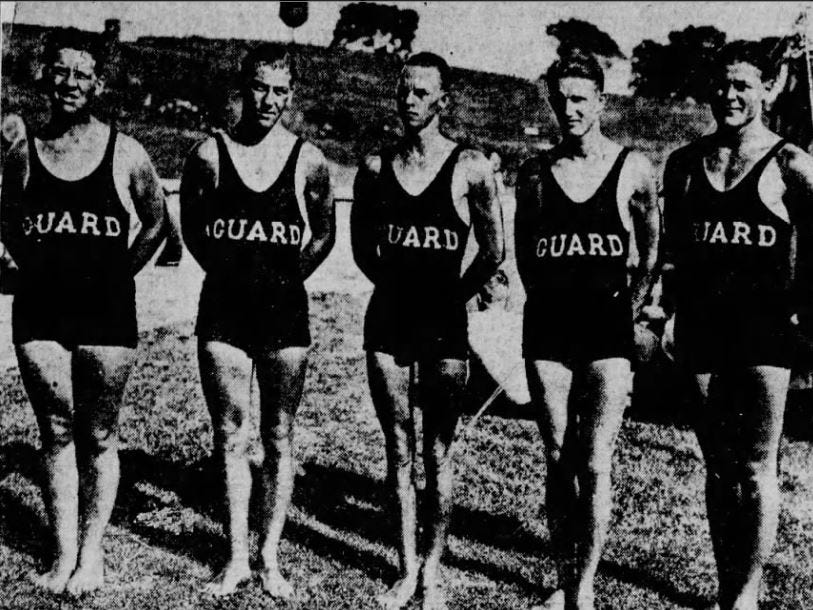 From 1923: Lifeguards at the Camp Dodge pool for 1923, from left, J.H. Severson, L.G. Tiffany, I. Shepherd, Robert Killebrew and I.J. Klingaman.