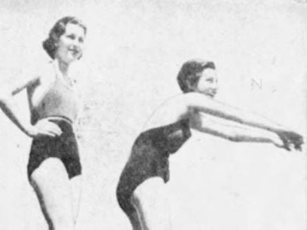 From 1935: Alice Mundt, left, awaits her turn while Mary Thomas prepares to dive into the Camp Dodge pool. Both ladies are from Des Moines.