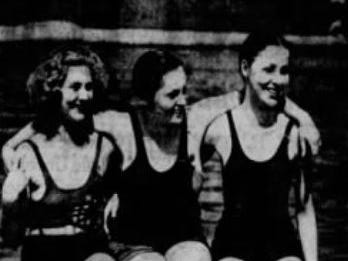 From 1933: From left, Eloise Ketterer, Barbara Iles and Mary Cline, all of Des Moines, were at the Camp Dodge pool for opening day 1933.