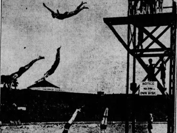 From 1923: Five swimmers leap off the high dive into the Camp Dodge pool at the same time.