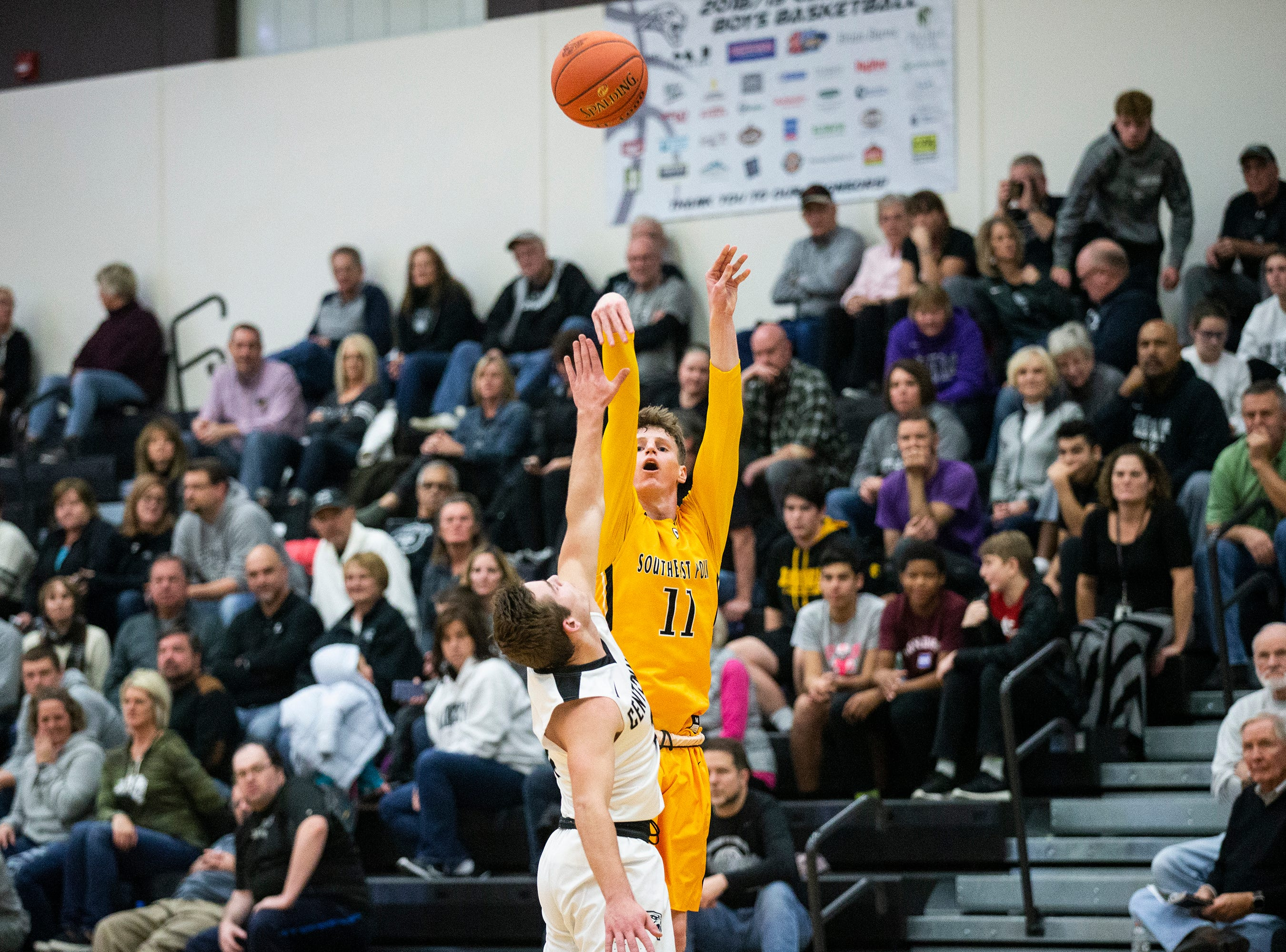 SEP's Sam Glenn shoots the ball during the Southeast Polk vs. Ankeny Centennial boy's basketball game on Tuesday, Nov. 27, 2018, at Ankeny Centennial High School.