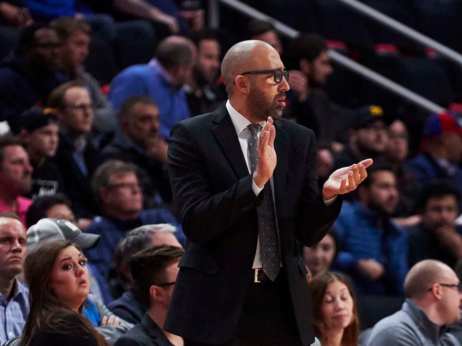 New York Knicks head coach David Fizdale during the first half against the Detroit Pistons at Little Caesars Arena.