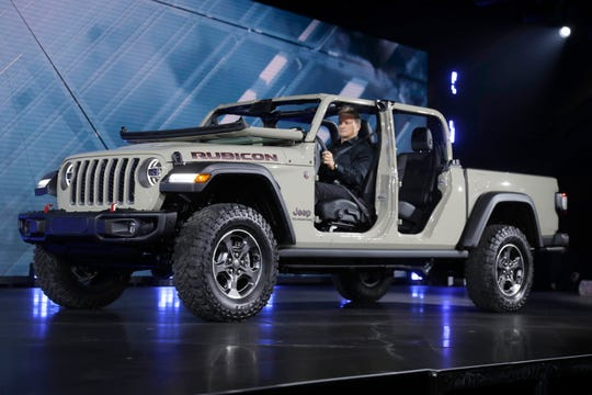 A 2020 Jeep Gladiator Rubicon is shown during the Los Angeles Auto Show on Wednesday, Nov. 28, 2018, in Los Angeles.
