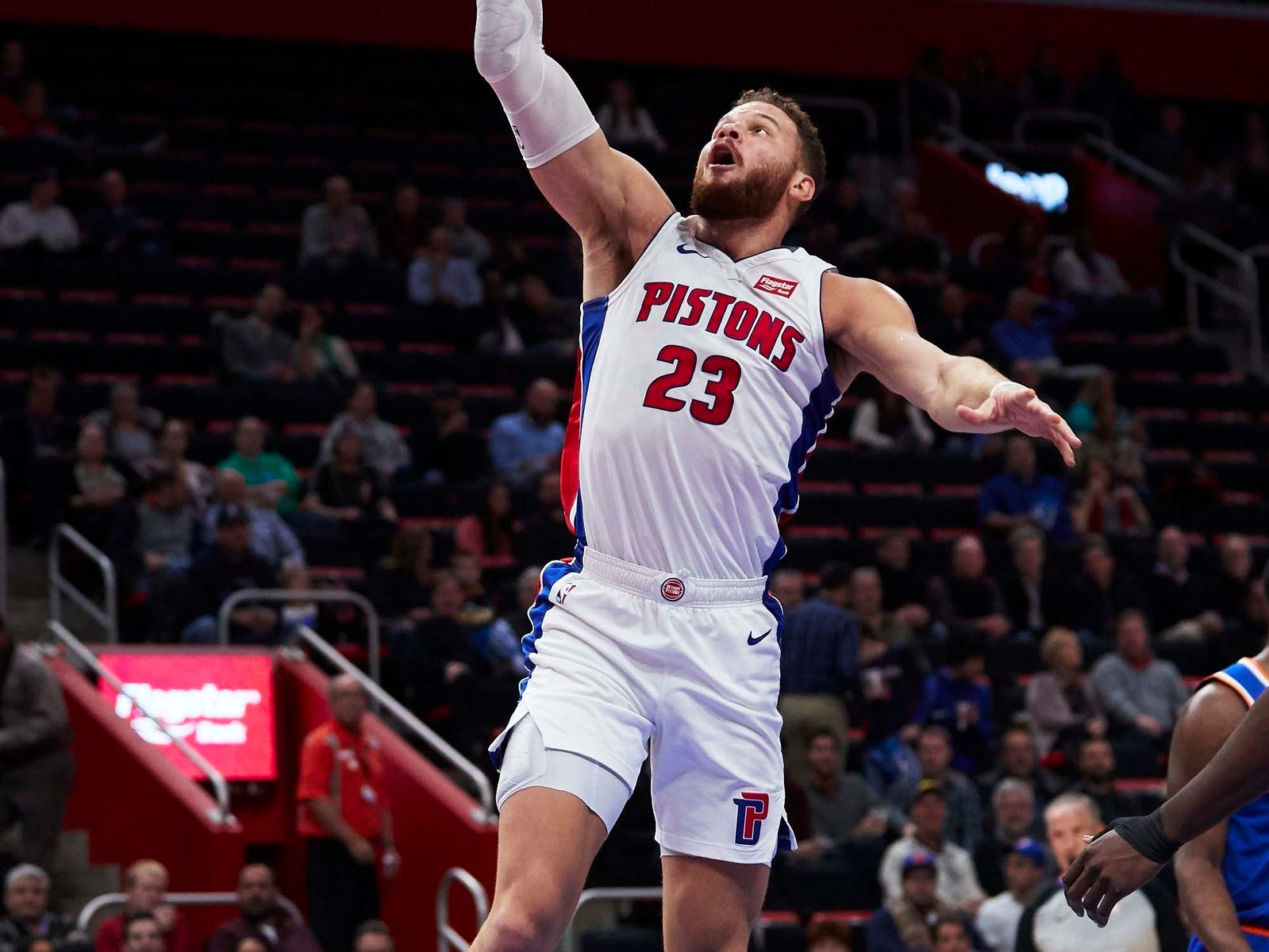Detroit Pistons forward Blake Griffin (23) goes to the basket in the first half against the New York Knicks at Little Caesars Arena.
