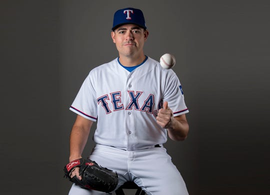 Rangers pitcher Matt Moore during media day at Surprise Stadium, Feb. 21, 2018.