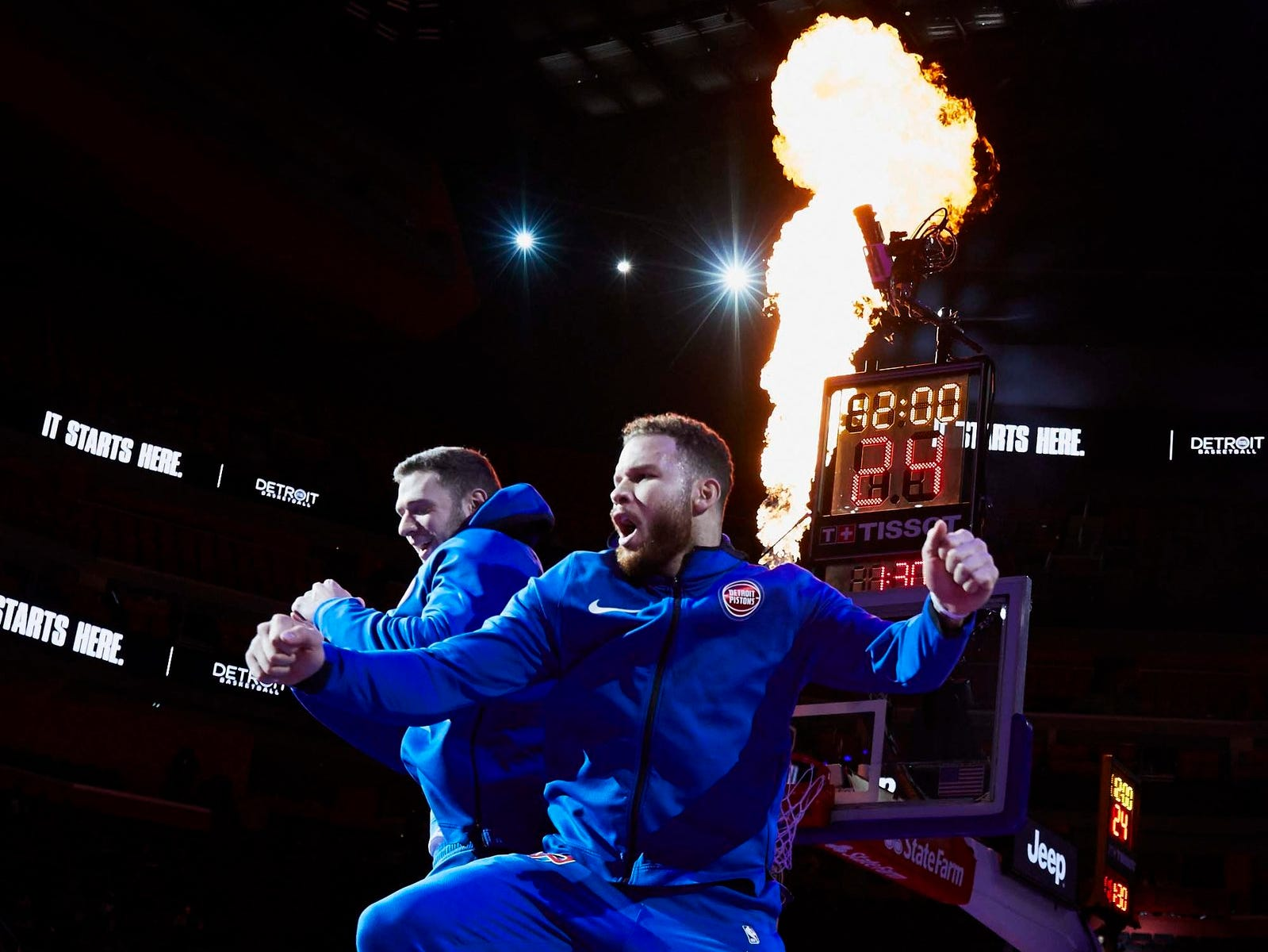 Detroit Pistons forward Blake Griffin (23) during player introductions prior to the game against the New York Knicks at Little Caesars Arena.