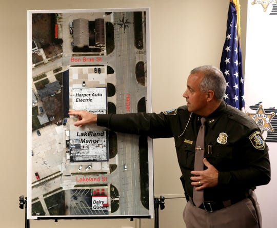 Macomb County Sheriff Anthony Wickersham  describes the scene using an aerial picture  of the area of the St. Clair Shores officer involved shooting of Theoddeus Gray on November 14, 2018.