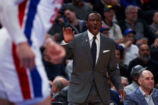 Detroit Pistons head coach Dwane Casey during the second half against the New York Knicks at Little Caesars Arena.
