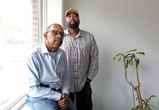 From left, Mark Edwards, 59 and Kenny Taylor, 58, plaintiffs suing GM for allowing racist activity to happen in the factories they work at are photographed in the law office of Roy, Shecter & Vocht, in Birmingham on Wednesday, Nov. 28, 2018.