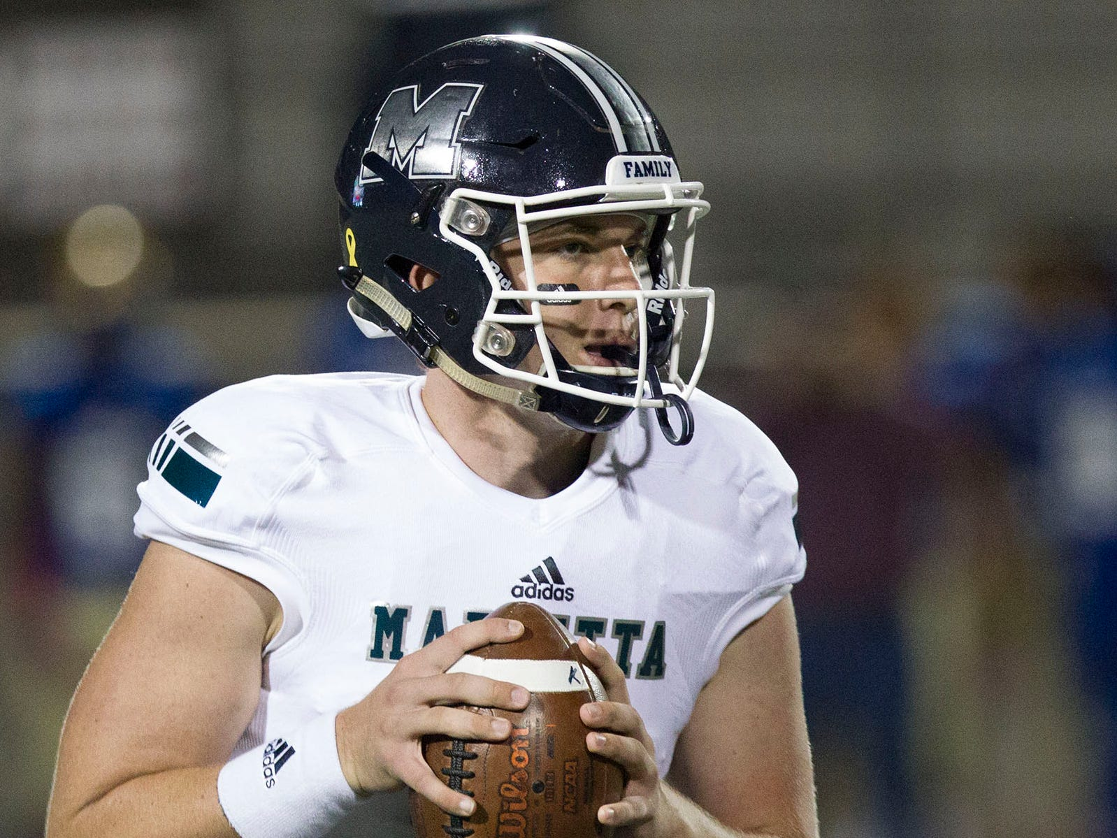 Marietta quarterback Harrison Bailey (5)  will be making his college decision between Michigan and Tennessee.
