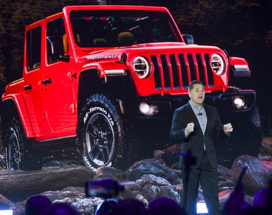 Tim Kuniskis, Head of Jeep Brand - North America, revealed the 2020 Jeep Gladiator during the Los Angeles Auto Show on Wednesday, Nov. 28, 2018, in Los Angeles.