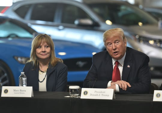 On March 15, 2017, President Donald Trump speaks at the American Center for Mobility in Ypsilanti with General Motors CEO Mary Barra and other auto industry executives. Trump has now threatened to cut subsidies to GM, after GM's bruising layoff announcement that hurts politically crucial states in Midwest.
