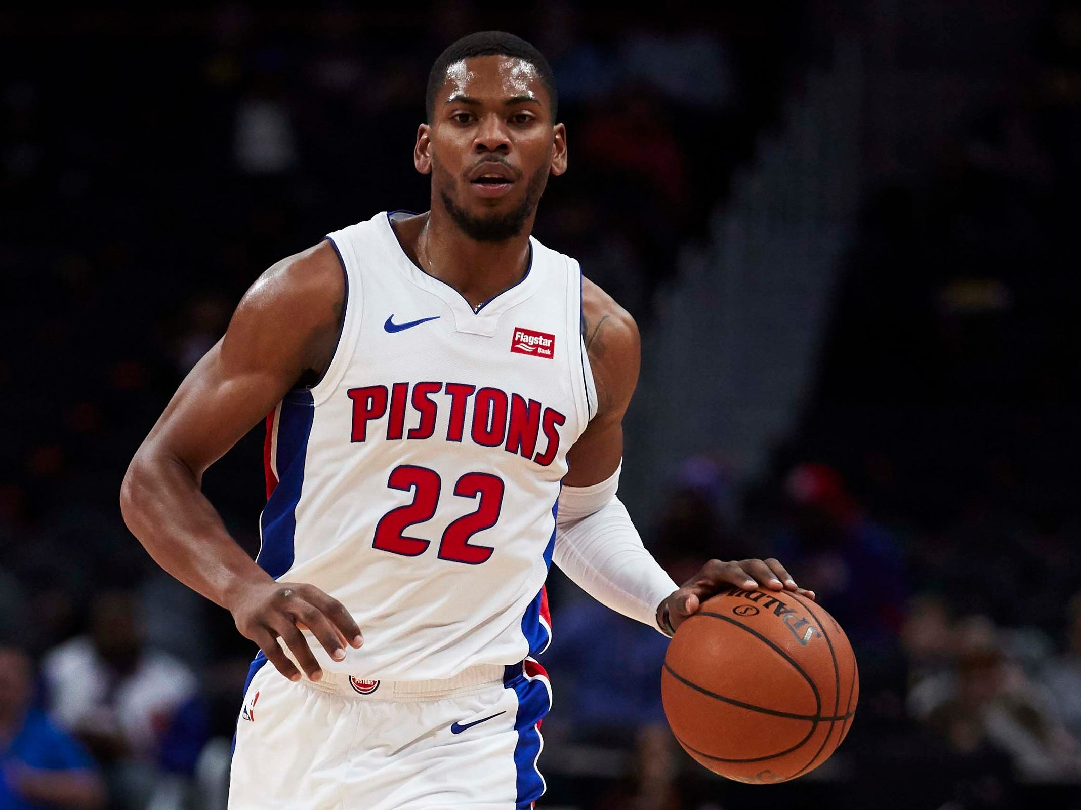 Detroit Pistons guard Glenn Robinson III (22) dribbles in the first half against the New York Knicks at Little Caesars Arena.
