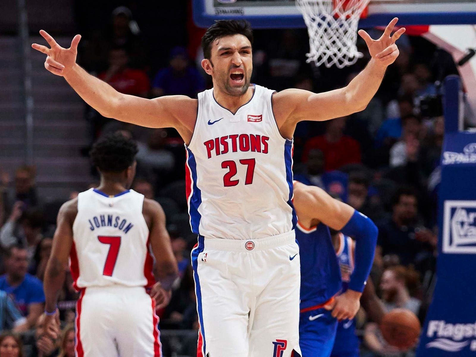 Detroit Pistons center Zaza Pachulia (27) reacts to a three point basket by guard Ish Smith (not pictured) in the second half against the New York Knicks at Little Caesars Arena.